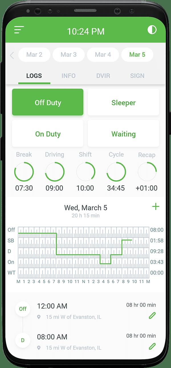 Logs screens GPSTab app